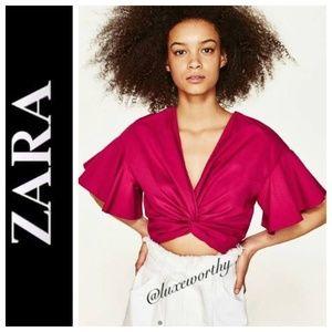 Zara Fuchsia Knotted Crop Top